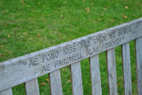 <p>Burns verse on a summer seat, Tullymore Park, Newcastle</p>